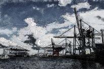 Hafen, Hamburg, Containerterminal, Kran