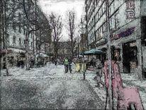Digitale kunst, Stadt, Straße, Bildbearbeitung
