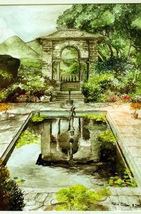 Aquarellmalerei, Malerei, Garten, England