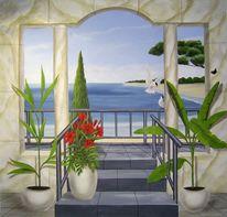 Wandmalerei, Treppe, Illusionsmalerei, Malerei