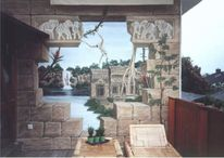 Wandmalerei, Tempel, Illusionsmalerei, Malerei