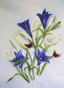 Blumen, Schmetterling, Malerei, Pflanzen