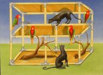 Katzen und vögel, Malerei, Tiere