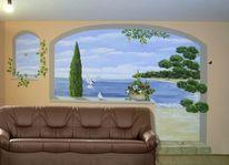 Illusionsmalerei, Toskana, Wohnzimmer, Wandmalerei