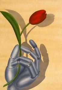 Roboter, Tulpen, Malerei