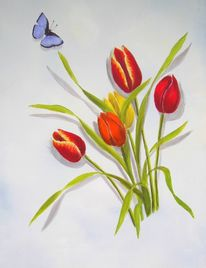 Schmetterling, Tulpen, Malerei, Frühling