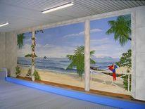 Südsee, Illusionsmalerei, Schwimmhallenmalerei, Wandmalerei