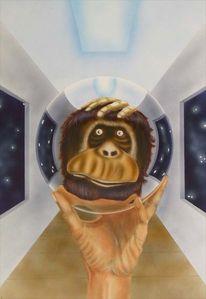 Kugel, Spiegel, Affe, Malerei