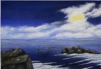 Meer, Nacht, Mond, Malerei