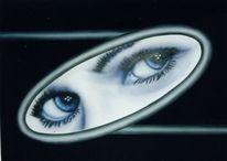 Gesicht, Augen, Spiegel, Malerei