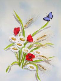 Blumen, Schmetterling, Mohn, Malerei