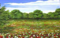 Landschaft, Mohn, Blumenwiese, Malerei