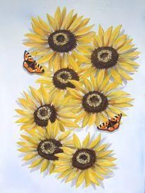 Schmetterling, Sonnenblumen, Malerei, Pflanzen