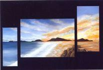 Dämmerung, Sonnenuntergang, Strand, Malerei