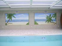 Strand, Illusionsmalerei, Palmen, Wandmalerei