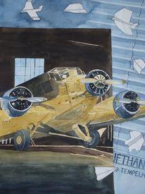 Technik, Aquarellmalerei, Flugzeug, Traum