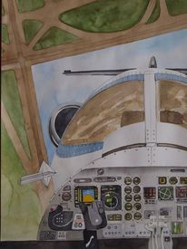 Technik, Traum, Aquarellmalerei, Flugzeug