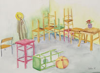 Stillleben, Stuhl, Aquarellmalerei, Interieur