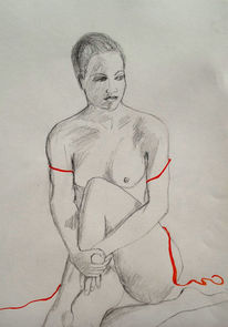 Rot, Akt, Band, Bleistiftzeichnung