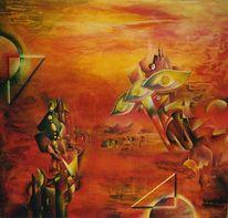 Rot, Abstrakt, Kubistisch, Kampf