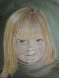 Portrait, Blond, Mädchen, Ölmalerei