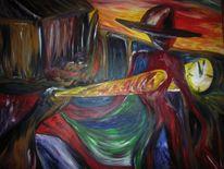 Industrie, Rot schwarz, Figurativ, Ölmalerei
