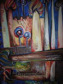 Architektur, Acrylmalerei, Bunt, Freude
