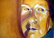 Acrylmalerei, Gelb, Lila, Portrait
