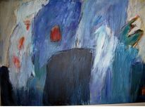 Blau abstrakt modern, Malerei, Abstrakt