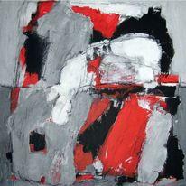 Grau, Weiß, Rot schwarz, Malerei