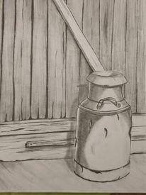 Scheunentor, Schwarz weiß, Milchkanne, Malerei