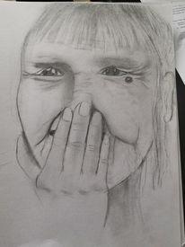 Lachen, Gesicht, Alte dame, Malerei