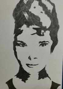 Schatten, Frau, Malerei, Blick
