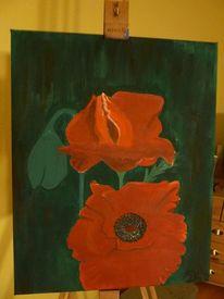 Blumen, Natur, Mohnblumen, Acrylmalerei