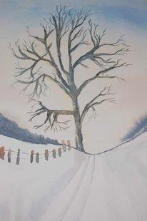 Baum, Schnee, Winter, Aquarell