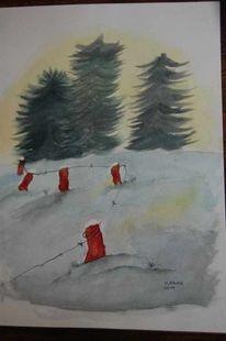 Schnee, Winter, Aquarell