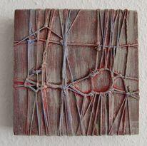 Acrylmalerei, Skulptur, Abstrakt, Rot