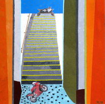 Katze, Motorrad, Treppe, Himmelsleiter