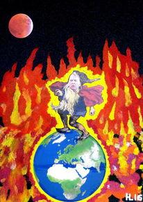 Trump, Feuer, Globus, Mischtechnik