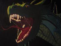 Farben, Drache, Acrylmalerei, Dunkel