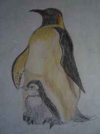 Buntstiftzeichnung, Vogel, Bunt, Tiere