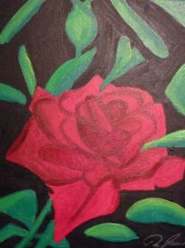 Acrylmalerei, Leben, Rose, Farben