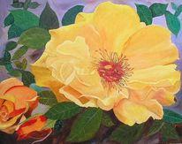 Rose postillion, Blumen, Ölmalerei, Malerei