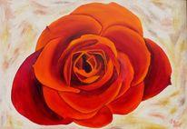 Ölmalerei, Wohnbeispiel, Edelrose, Malerei
