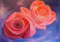 Blumen, Ölmalerei, Rose, Botanik