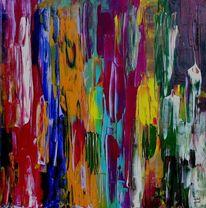 Abstrakte kunst, Strukturpaste, Acrylmalerei, Rakeltechnik