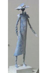 Weiblich, Menschen, Frau mit hut, Skulptur