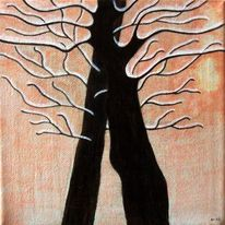 Baum, Miniatur, Mischtechnik, Abstrakt