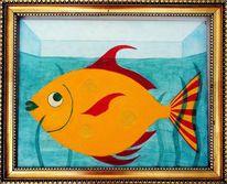 Fisch, Acrylmalerei, Abstrakt, Hartfaser