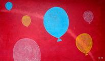 Malerei, Luftballon, Acrylmalerei, Hartfaser